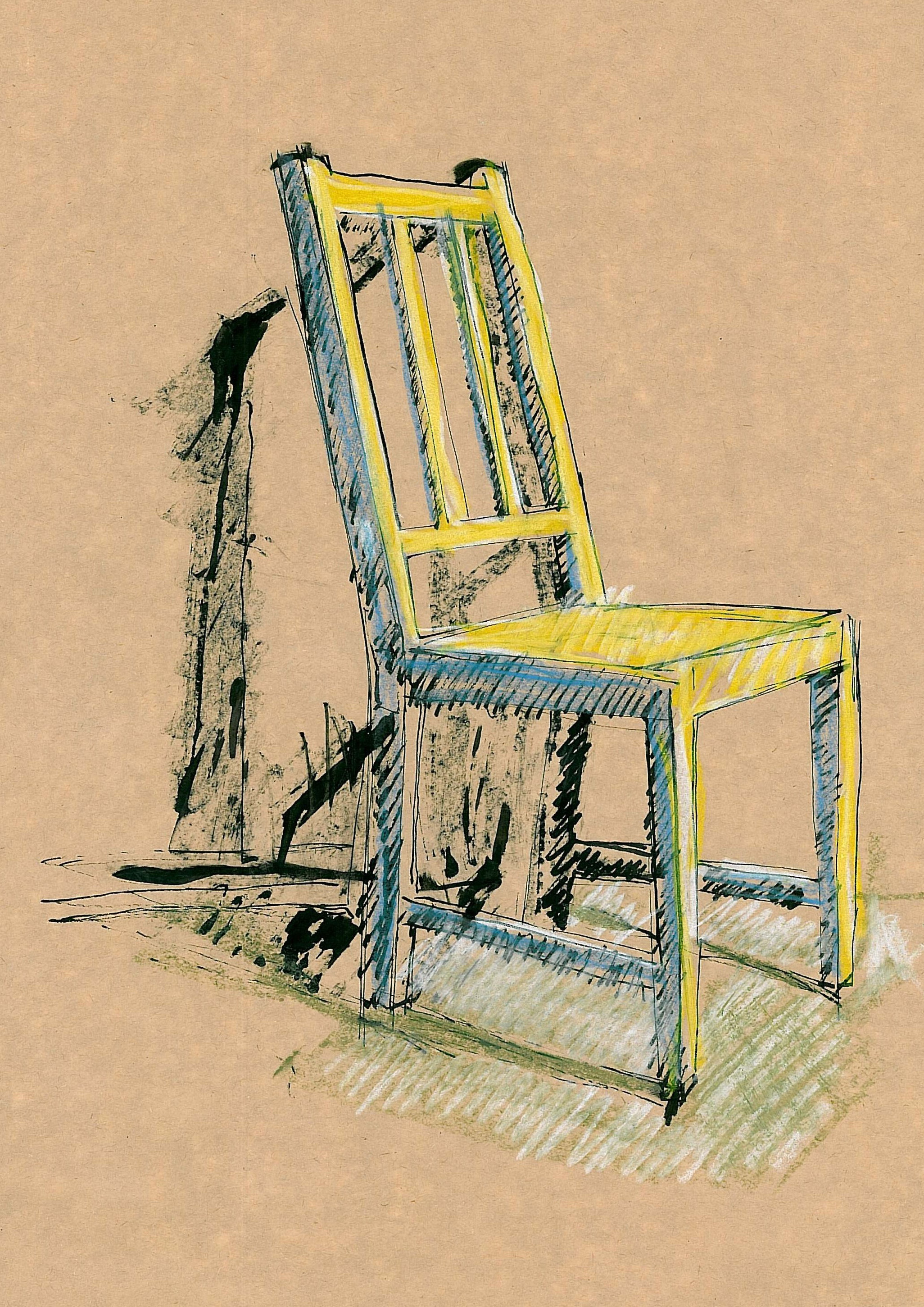 #61 Chair, blue,yellow,green&b&W 30x45cm