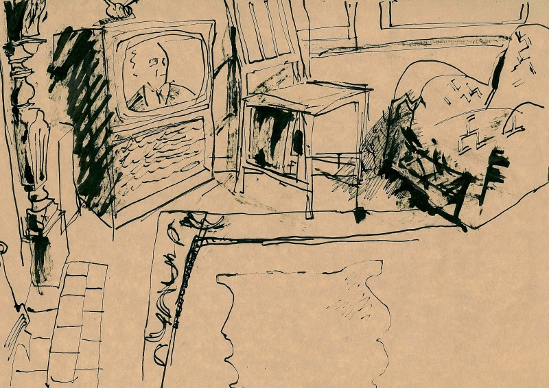 #78 Black ink, Interior, chairs, TV, mat