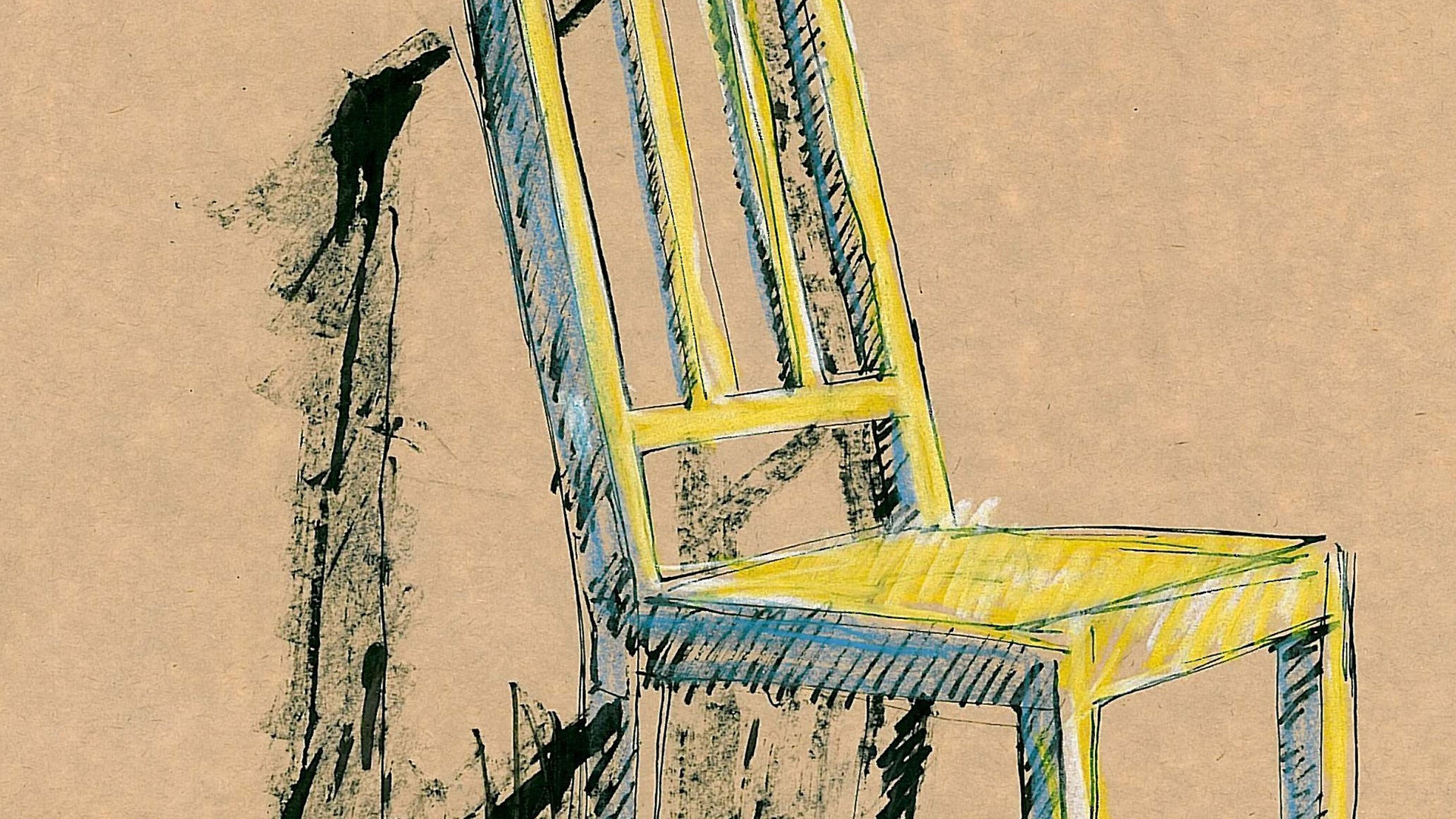 3. Michael Armstrong, Chair, 2010 (#61 Chair, blue,yellow,green&b&W 30x45cm) crop